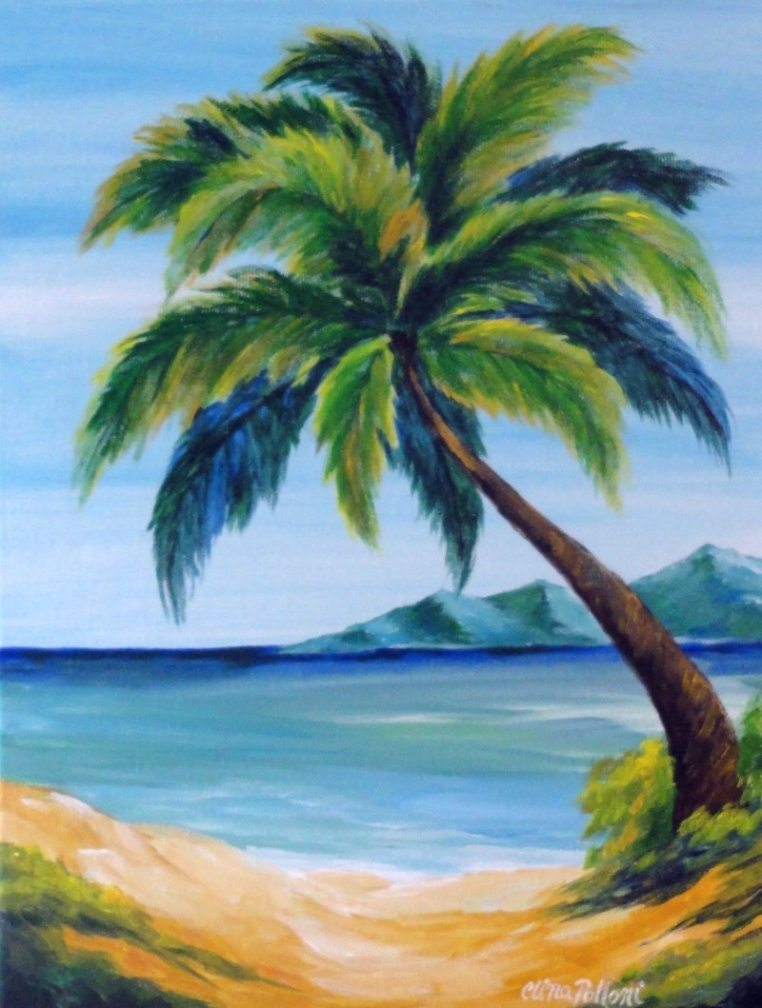 Seascape palm tree clina polloni for Painting palm trees