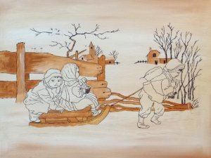 Children Sleigh Ride-Under Paint