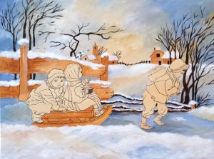 Children Sleigh Ride-Background