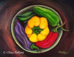 Peppers in a Ceramic Pot