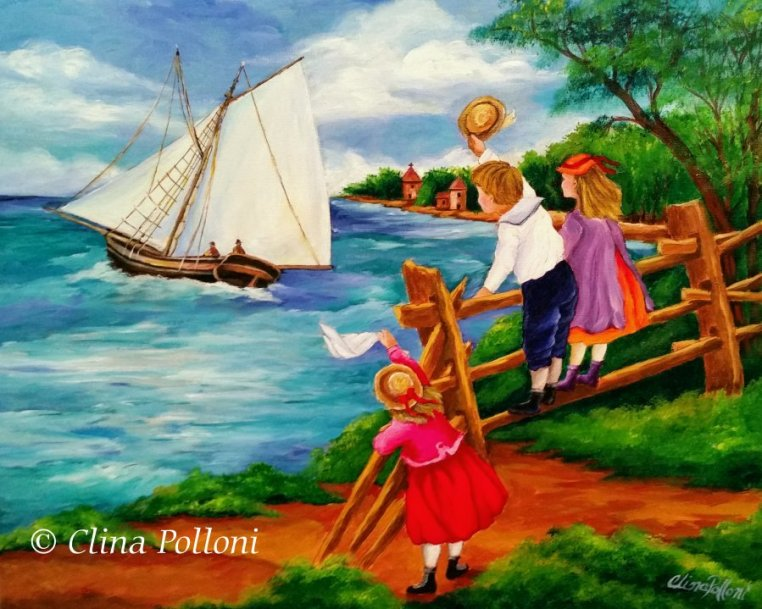 Children Goodbyes to the Sailors, Painting