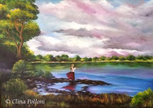 Fishing Before The Storm, Oil Painting by Clina Polloni