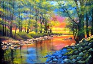 Orange Reflections in The Oconaluftee River NC