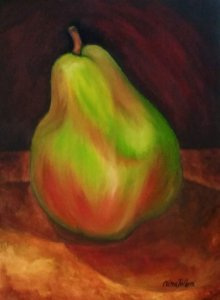 Comice Green Pear Painting