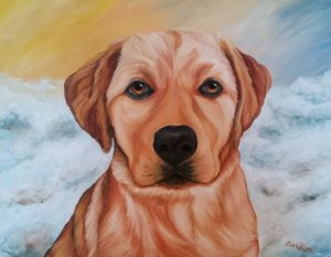 Gold Labrador Retriever Oil Portrait