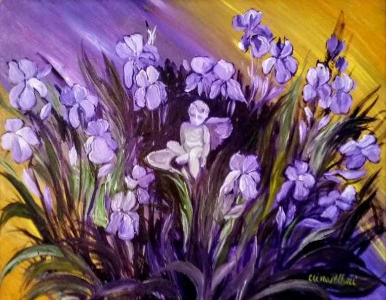 The Angel of the Irises Painting