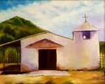 White Adobe Church Painting