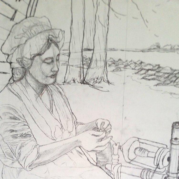 Weaving The Yarn At The Tar River NC drawing.