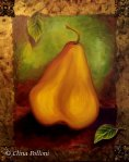 Gold Pear With Leaves Painting