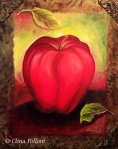 Red Apple With Leaves Painting