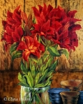 Red Lilies Painting