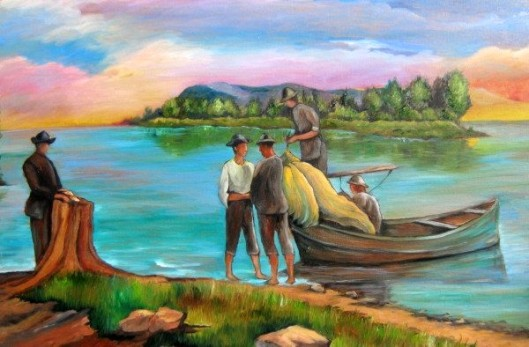 The Fishermen, painting of Constitucion, Chile.