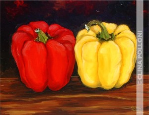 Still Life-Red and Yellow Peppers Painting