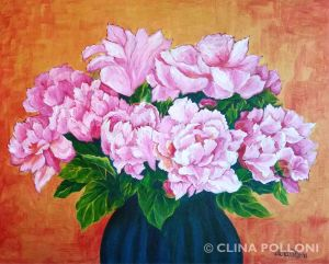 Rose Color Peonies Painting