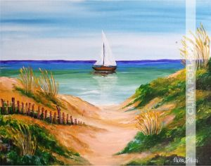 Sea Dunes with Sail Boat Painting
